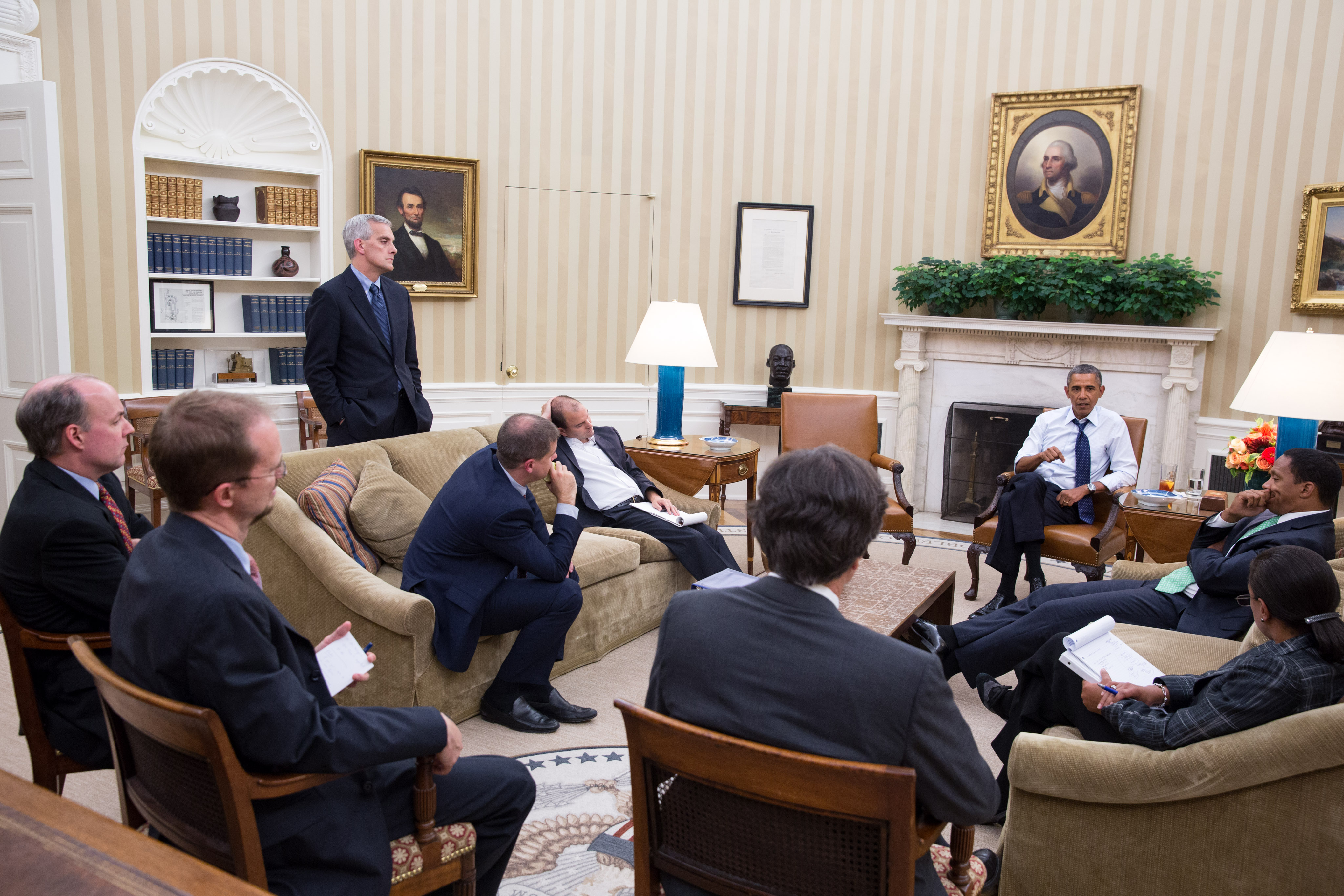 President Barack Obama meets with senior advisors in the Oval Office to discuss a new plan for the situation in Syria, Friday night, August 30, 2013. (Official White House Photo by Pete Souza)